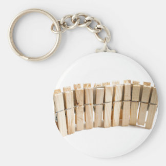 Wooden clothes pegs basic round button key ring