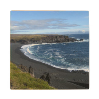 Wooden Coaster With Icelandic Beach Scene