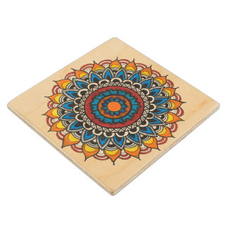 Wooden Coasters with Colourful Mandala Art