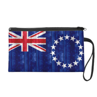 Wooden Cook Island Flag Wristlet Clutches