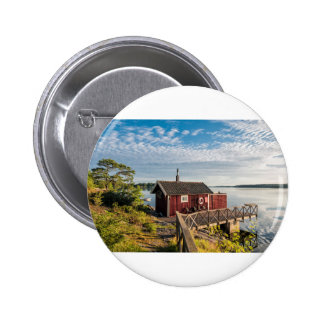 Wooden cottage on the Baltic Sea coast in Sweden 6 Cm Round Badge