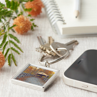 """""""WOODEN COVERED BRIDGE IN WOODS, FALL SEASON"""" Silver-Colored SQUARE KEY RING"""