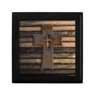 Wooden Cross Small Square Gift Box