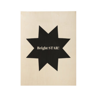 Wooden design with Black Star Wood Poster