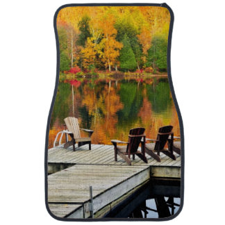 Wooden Dock On Autumn Lake Car Mat