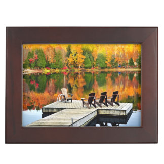 Wooden Dock On Autumn Lake Memory Box