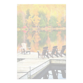 Wooden Dock On Autumn Lake Personalized Stationery