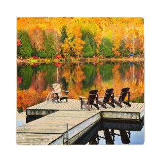 Wooden Dock On Autumn Lake Wood Coaster