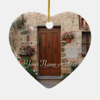 Wooden Door Tuscany Italy Personalized Christmas Ornament