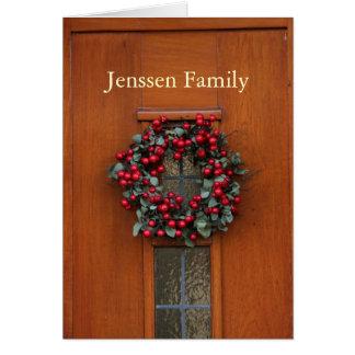 Wooden door with wreath address announcement