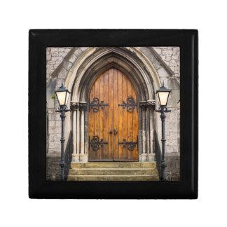 Wooden doors at entrance gift box
