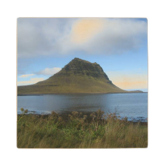 Wooden Drinks Coaster with Hill and Water Picture
