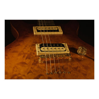 Wooden Electric Guitar Poster