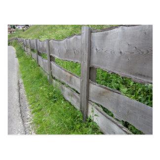 Wooden fence Vallunga Valley, Selva Italy Postcard