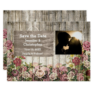 Wooden Fence with Painted Roses Save the Date Card 13 Cm X 18 Cm Invitation Card
