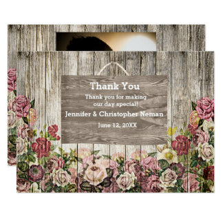 Wooden Fence with Painted Roses Thank You Card 13 Cm X 18 Cm Invitation Card