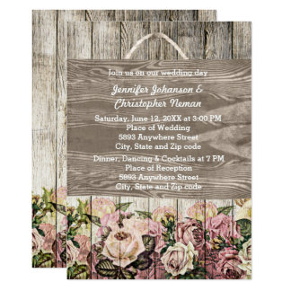 Wooden Fence with Painted Roses Wedding Invitation