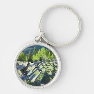 Wooden Fenceline Silver-Colored Round Key Ring