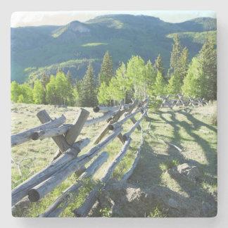 Wooden Fenceline Stone Beverage Coaster
