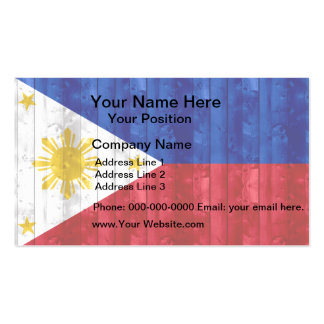 Wooden Filipino Flag Business Card