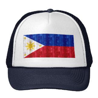 Wooden Filipino Flag Mesh Hats
