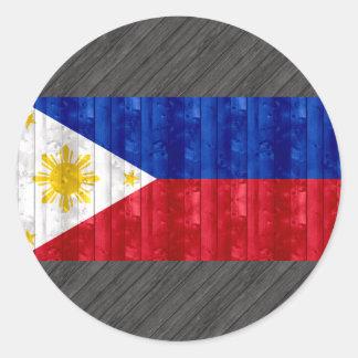 Wooden Filipino Flag Round Stickers