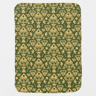 Wooden floral damask pattern background baby blankets