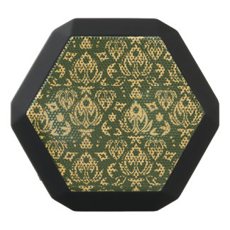 Wooden floral damask pattern background black bluetooth speaker