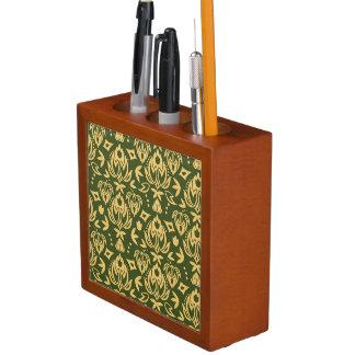 Wooden floral damask pattern background desk organiser