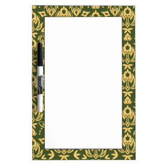 Wooden floral damask pattern background dry erase whiteboard