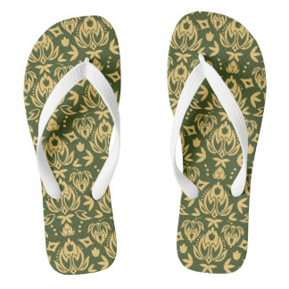 Wooden floral damask pattern background flip flops