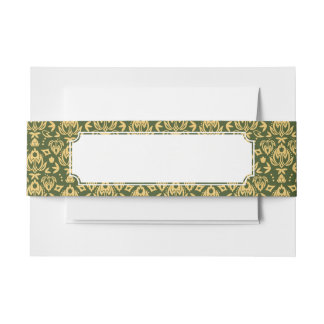 Wooden floral damask pattern background invitation belly band