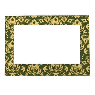 Wooden floral damask pattern background magnetic picture frame