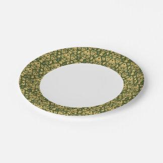 Wooden floral damask pattern background paper plate