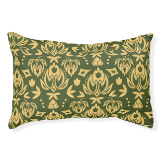 Wooden floral damask pattern background pet bed