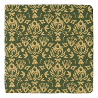 Wooden floral damask pattern background trivet