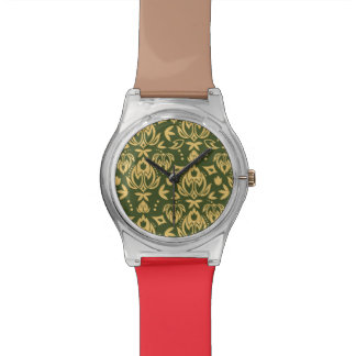 Wooden floral damask pattern background wrist watch