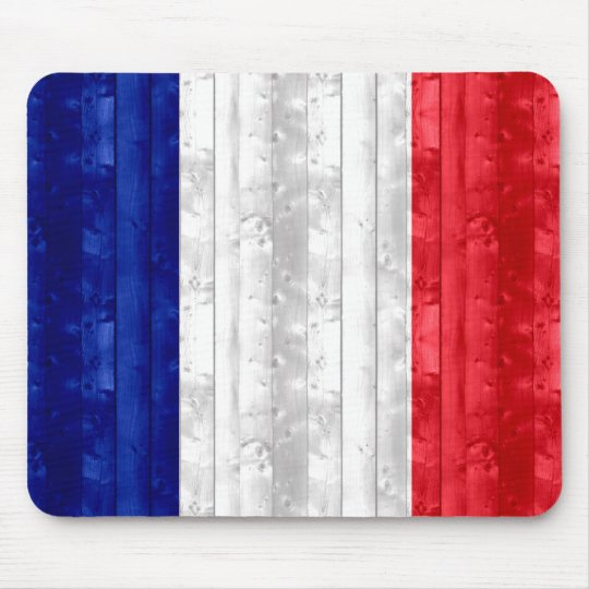 Wooden French Flag Mouse Mat