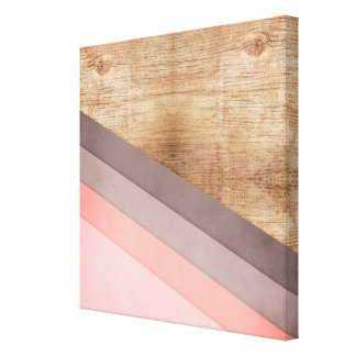 Wooden geometric art canvas print