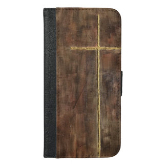 Wooden Gold Cross iPhone 6 Wallet Case