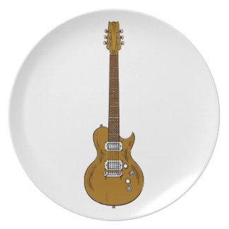 Wooden Guitar Dinner Plates