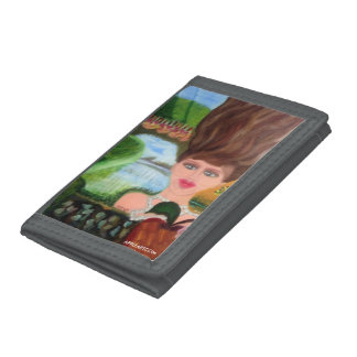 Wooden Hair TRIFOLD NYLON WALLET by APPLEARTCOM