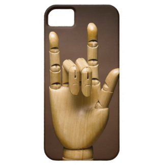 Wooden hand index and small finger extended, iPhone 5 cover