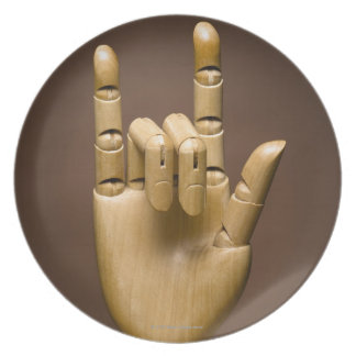 Wooden hand index and small finger extended, plate