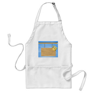 Wooden hanging sign and gold crown apron