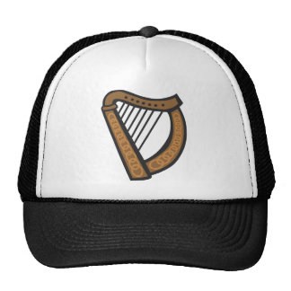 Wooden harp with engraved design trucker hats