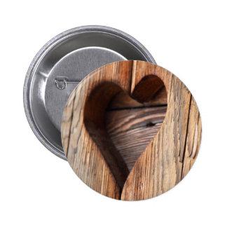Wooden Heart 6 Cm Round Badge