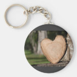 wooden heart basic round button key ring