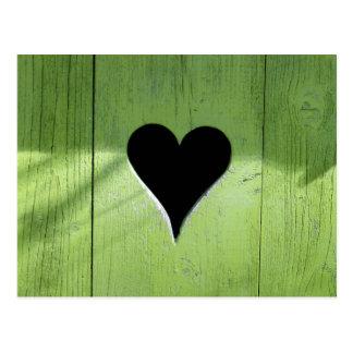 Wooden heart postcard