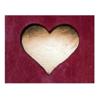Wooden heart red design postcard